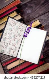 Retro books and lavender