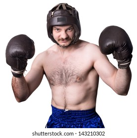 retro boxer with boxing helmet and gloves. isolated on white background.