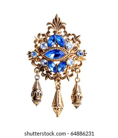 retro brooch with blue gems isolated on a white