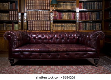 Retro brown leather couch, lounge sitting room