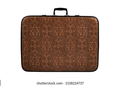 retro brown leather suitcase, stand, on white background; isolated