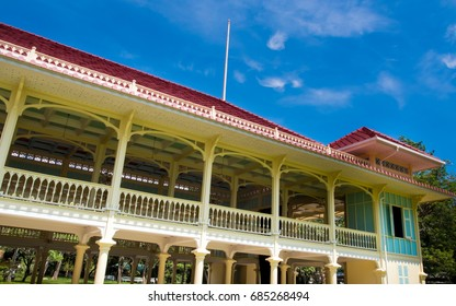 Retro building of old palace as tourist attractions