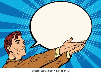 Retro businessman holding a comic bubble pop art . News message announcement