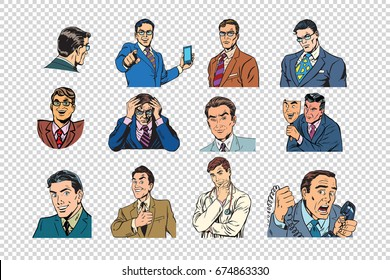 Retro businessmen pop art collection.  illustration. Portraits of business people. Isolate on a neutral background