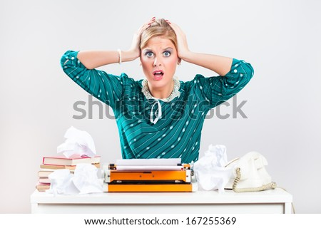 Retro businesswoman sitting in her office and she is in chaos,Frustration at work,Frustration at work