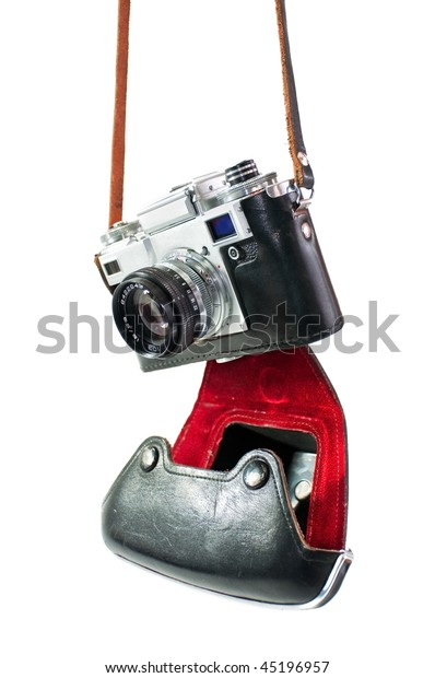 retro camera in red-black case of hanging strap isolated on a white background