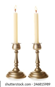 Retro candlesticks with candles, isolated on white