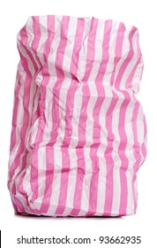 Retro candy stripe sweet bag on white background