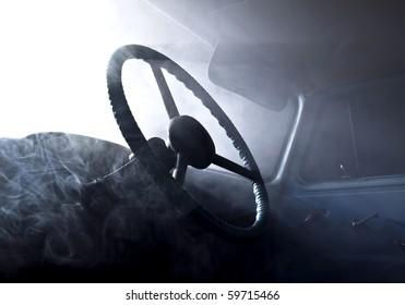 retro car in abstract smoke