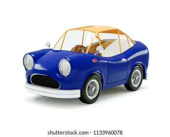 retro car in cartoon 3d style, isolated on a white background. 3d illustration