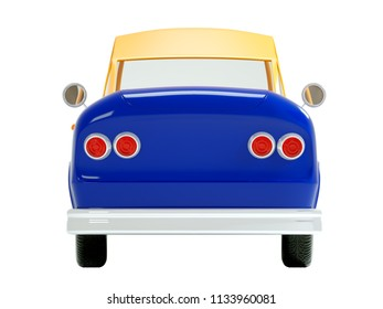 retro car in cartoon 3d style, back view, isolated on a white background. 3d illustration