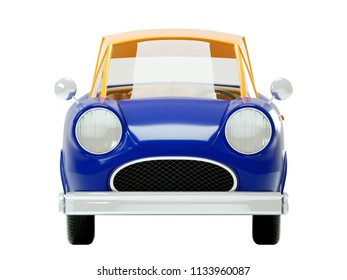 retro car in cartoon 3d style, front view, isolated on a white background. 3d illustration