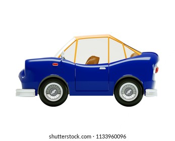 retro car in cartoon 3d style, side view, isolated on a white background. 3d illustration