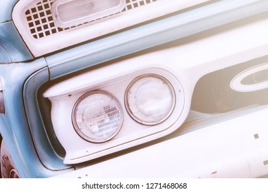 retro car headlights blue with white color