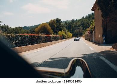 Retro car rally. French riviera. Nice - Cannes - Saint-Tropez.