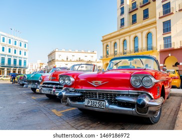 Retro car as taxi for tourists in Havana, Cuba. Captured near Gran Teatro de La Habana, El Capitolio and Paseo del Prado in spring 2019