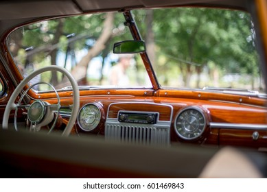 Retro car, retro torpedo car, vintage steering wheel, speedometer