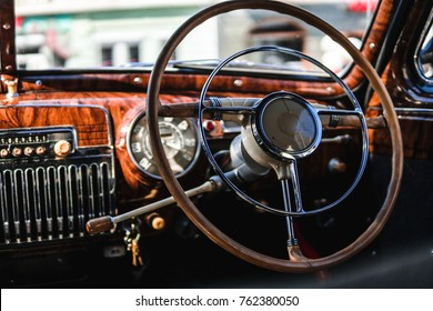 Retro car, vintage steering wheel clock, wooden,