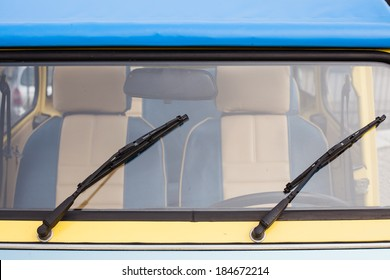 Retro car windshield with windshield wipers
