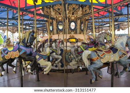 retro carnival carousel horses stock photo edit now 313151477