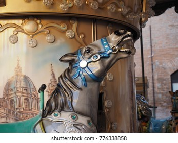Retro carousel horse, childhood memories. Detail, muzzle of a horse.