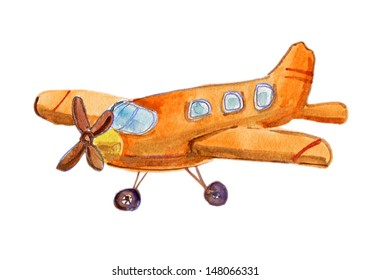 retro cartoon airplane. watercolor