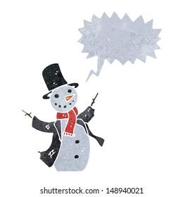 retro cartoon singing snowman