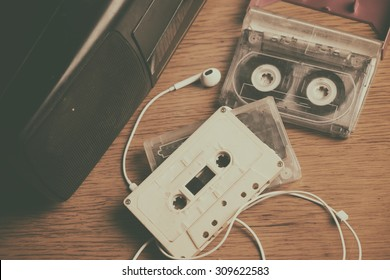 Retro cassette tape and player.Vintage effected photo
