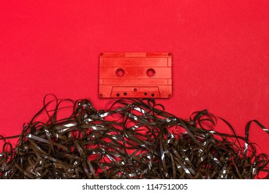 Retro cassette tapes on color background