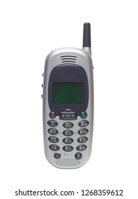 Retro cell phone gray on a white background