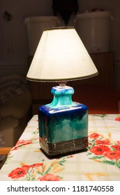 Retro ceramic table lamp in a room