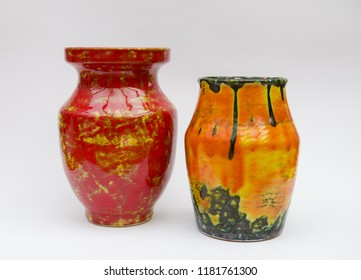 Retro ceramic vases isolated