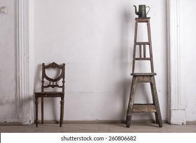 retro chair against a white wall.