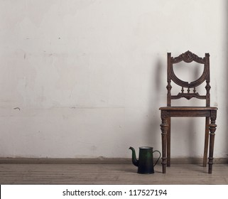 Retro chair and tea in the interior.