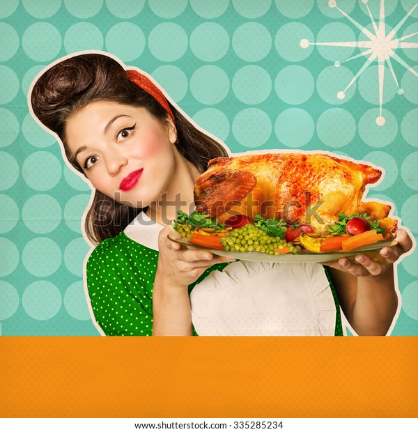 Retro chicken background for text or design with young smiling housewife
