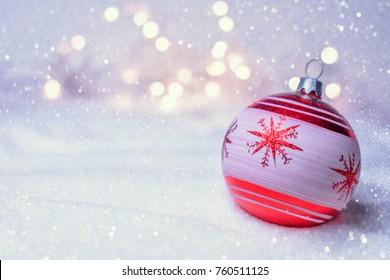 Retro Christmas Bauble On The Snow