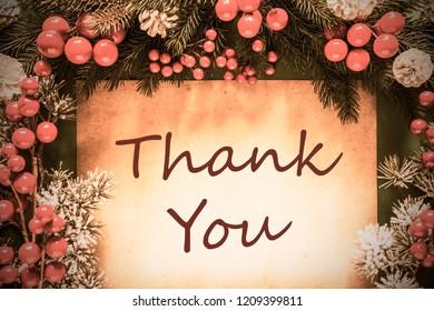 Retro Christmas Decoration, Fir Tree Branch, Text Thank You