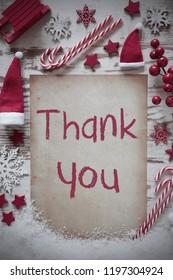 Retro Christmas Flat Lay, Snow, Thank You