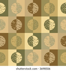 Retro circles and squares in green and brown earth tones