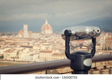 Retro cityscape of Florence, Italy