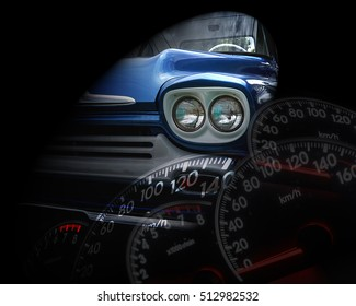 Retro classic car on low key background, and Mileage Cars blur background ,Vintage style of car.