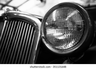 Retro of classic car ,vintage black and white style
