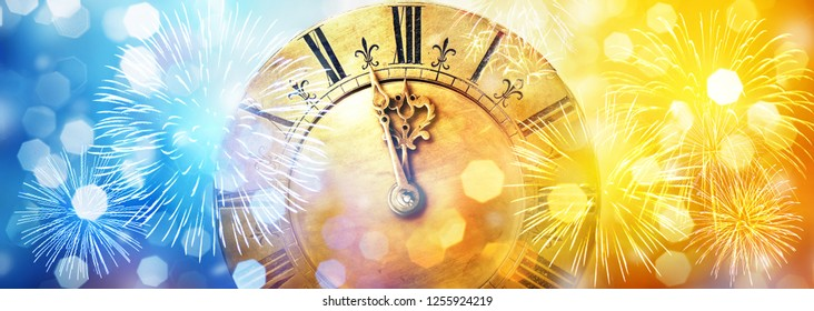 Retro clock close to midnight, fireworks and lights. New Year's and Christmas holiday background.
