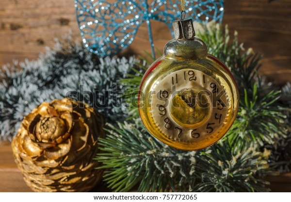 Old Fashioned Christmas Tree Decorations.Retro Clock Old Fashioned Christmas Tree Stock Photo Edit