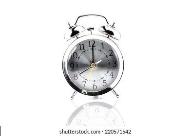 Retro clock on white isolated background with clipping path