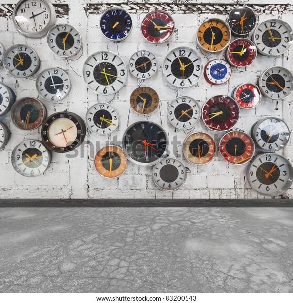 Retro clocks on the wall