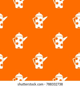 Retro coffee kettle pattern repeat seamless in orange color for any design.  geometric illustration