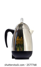 Retro coffee pot percolator, right facing vertical, isolated white