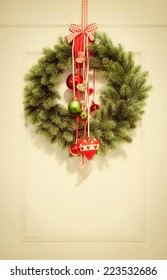 Retro colored christmas wreath with ornaments