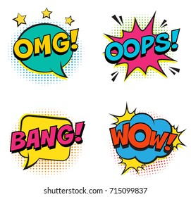 Retro colorful comic speech bubbles set with colorful halftone shadows on white background. Expression text BANG, OMG, WOW, OOPS. Vintage design, pop art style.